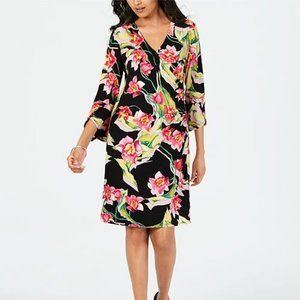 New 3X Floral-Print Faux-Wrap Dress